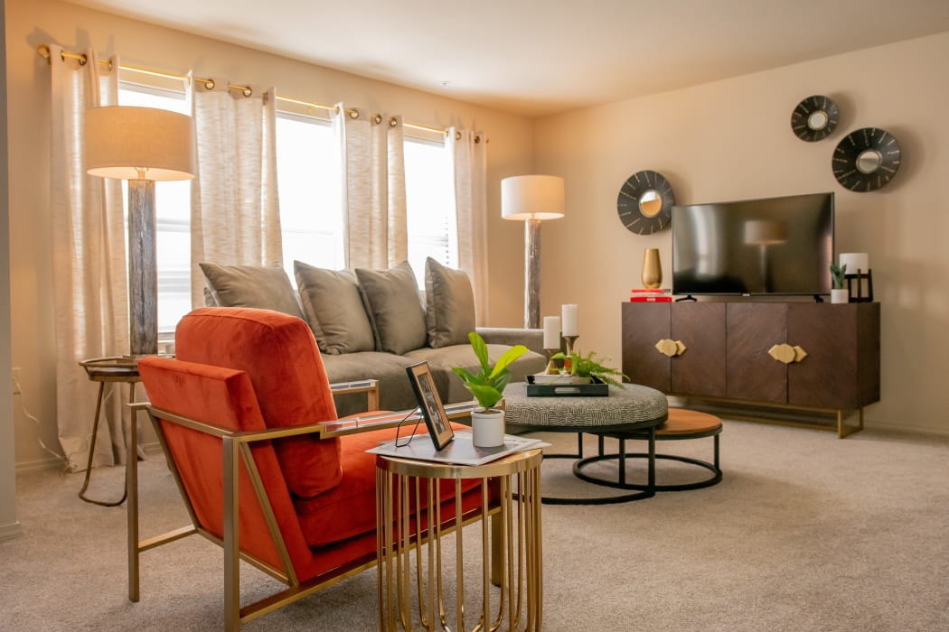 Living room at Icon at Norman in Norman, Oklahoma