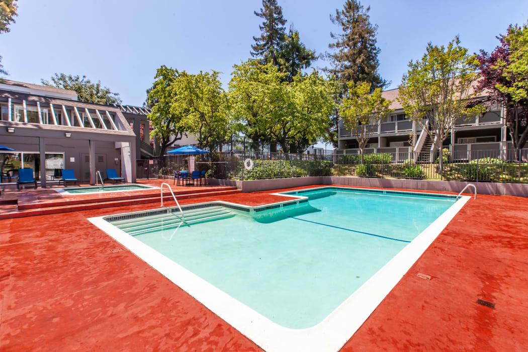 pool and lounge areas at The Timbers Apartments in Hayward