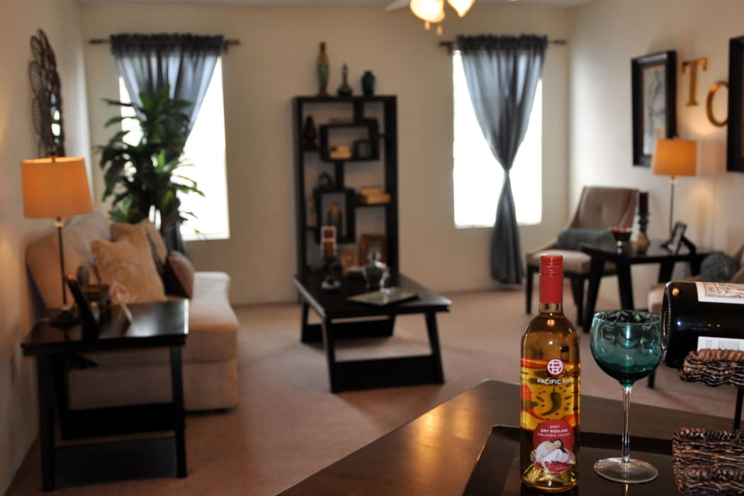Living room at The Crest Apartments in El Paso, Texas