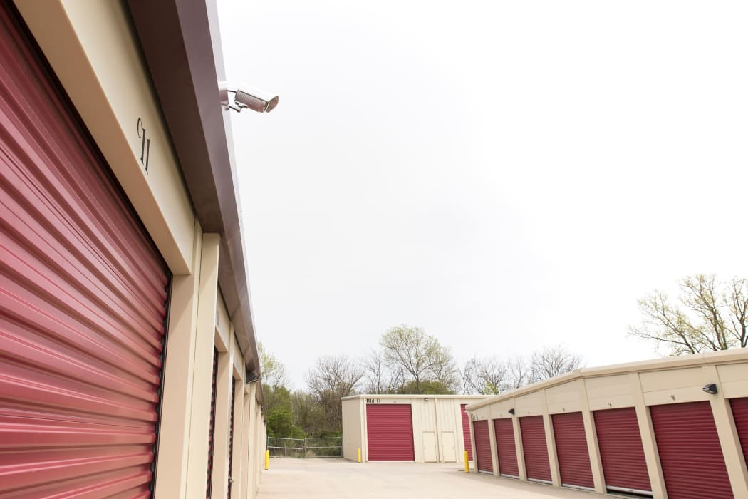 A security camera overlooking exterior storage units at EZ Storage in Des Moines, Iowa