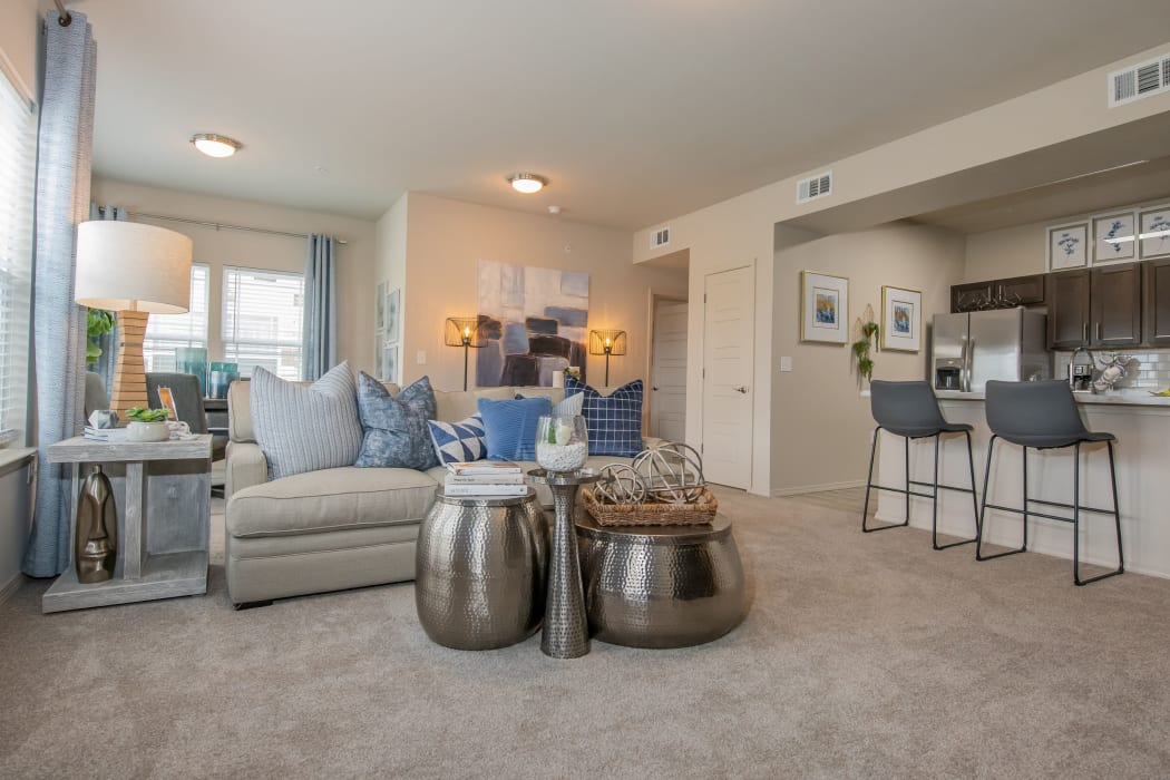 An apartment living room at 97@ North Oak in Kansas City, Missouri