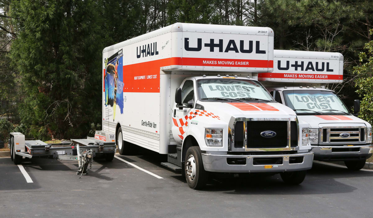 U-Haul trucks at StoreSmart Self-Storage in Buford, Georgia