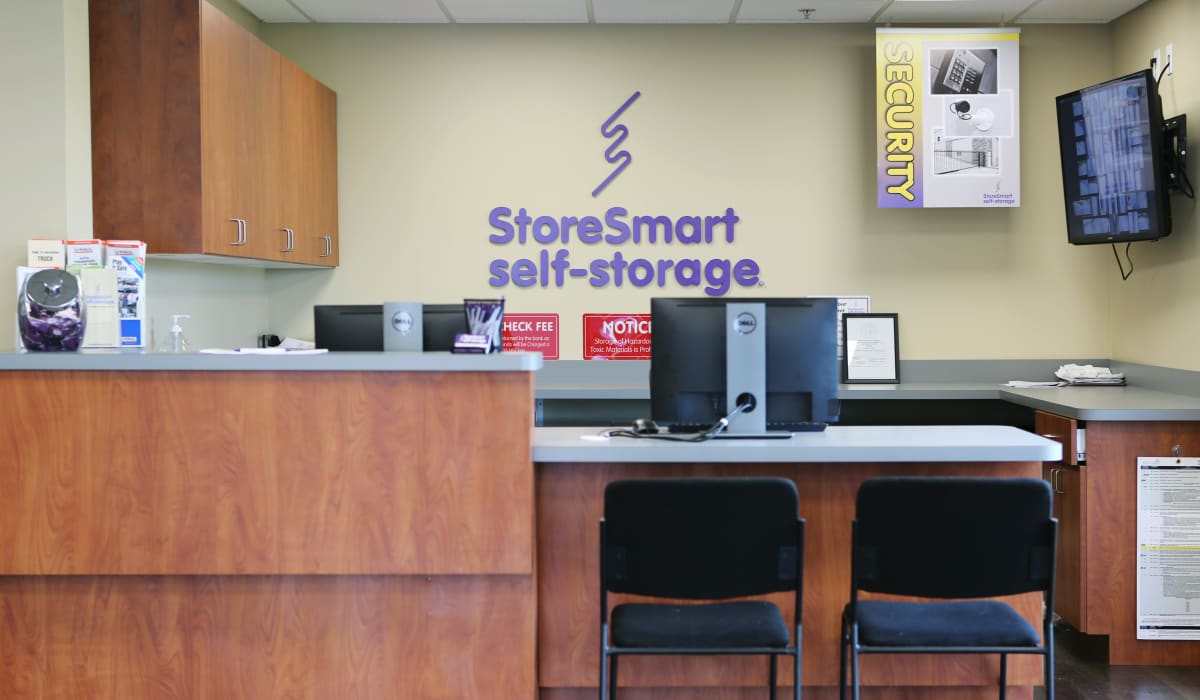 Leasing desk at StoreSmart Self-Storage in Loganville, Georgia