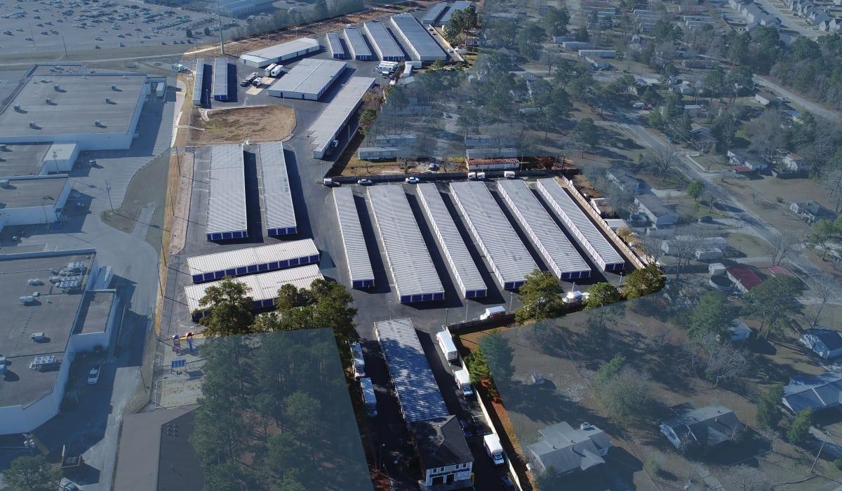 Aerial view of StoreSmart Self-Storage in Fayetteville, North Carolina