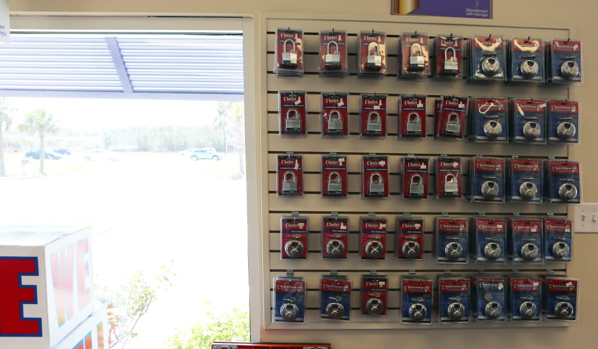 Locks for sale at StoreSmart Self-Storage in Conway, South Carolina