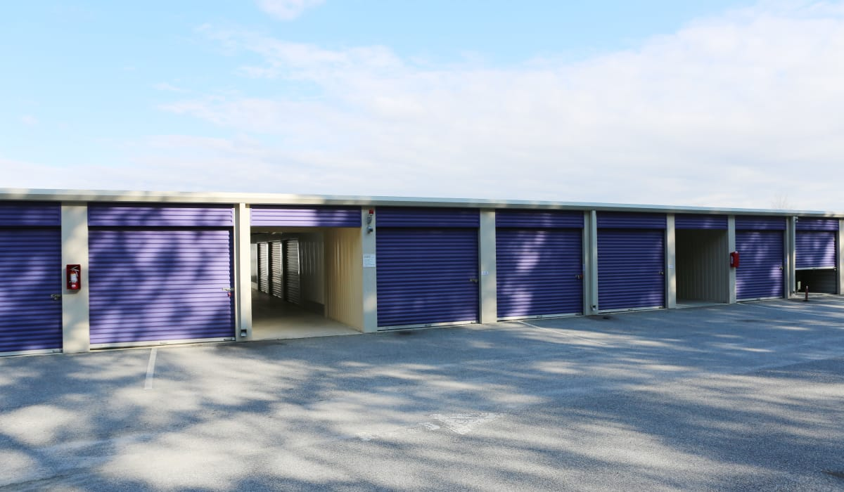 Blue roll-up doors at StoreSmart Self-Storage in Columbia, South Carolina
