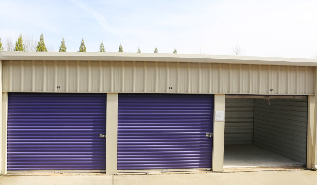 Roll-up doors at StoreSmart Self-Storage in Watkinsville, Georgia