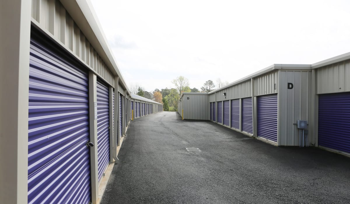 Wide aisles at StoreSmart Self-Storage in Watkinsville, Georgia