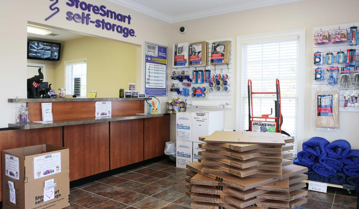 Leasing desk at StoreSmart Self-Storage in Watkinsville, Georgia