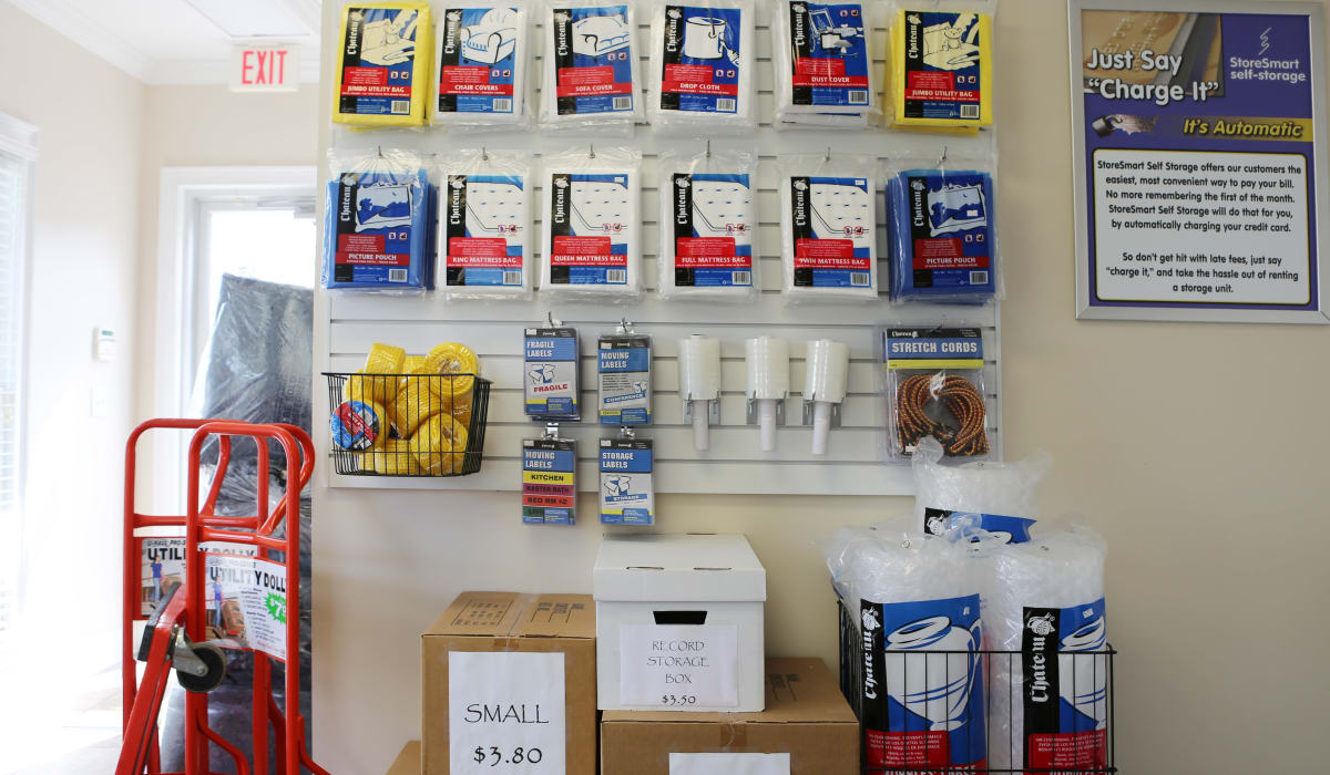 Supplies at StoreSmart Self-Storage in Watkinsville, Georgia