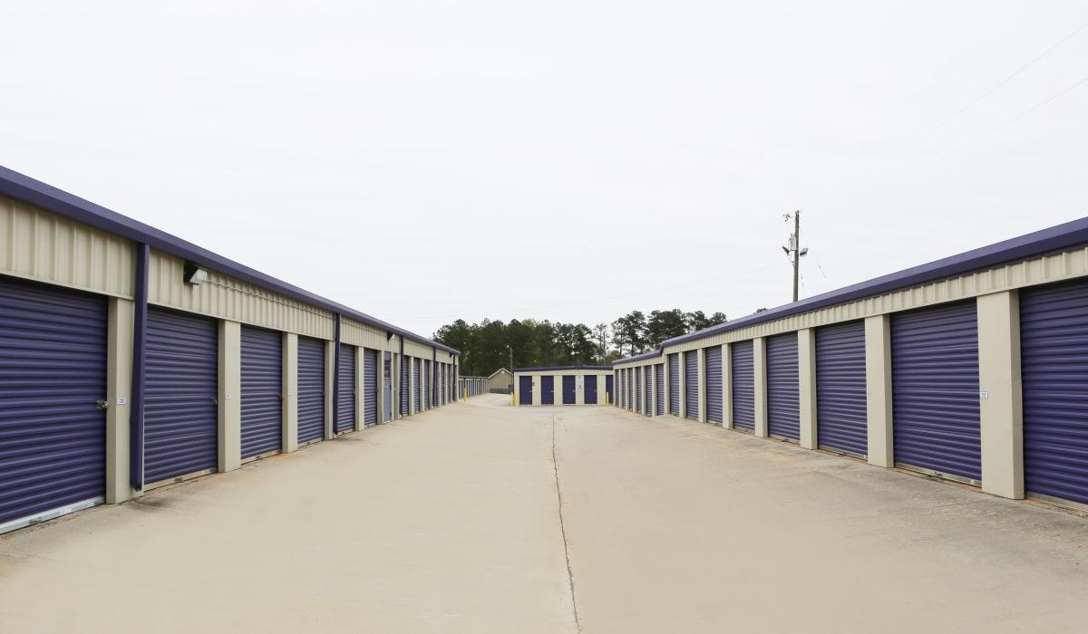 Wide aisles at StoreSmart Self-Storage in Warner Robins, Georgia