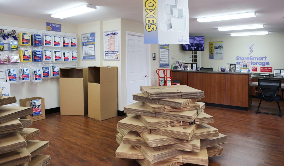 Boxes for sale at StoreSmart Self-Storage in Warner Robins, Georgia