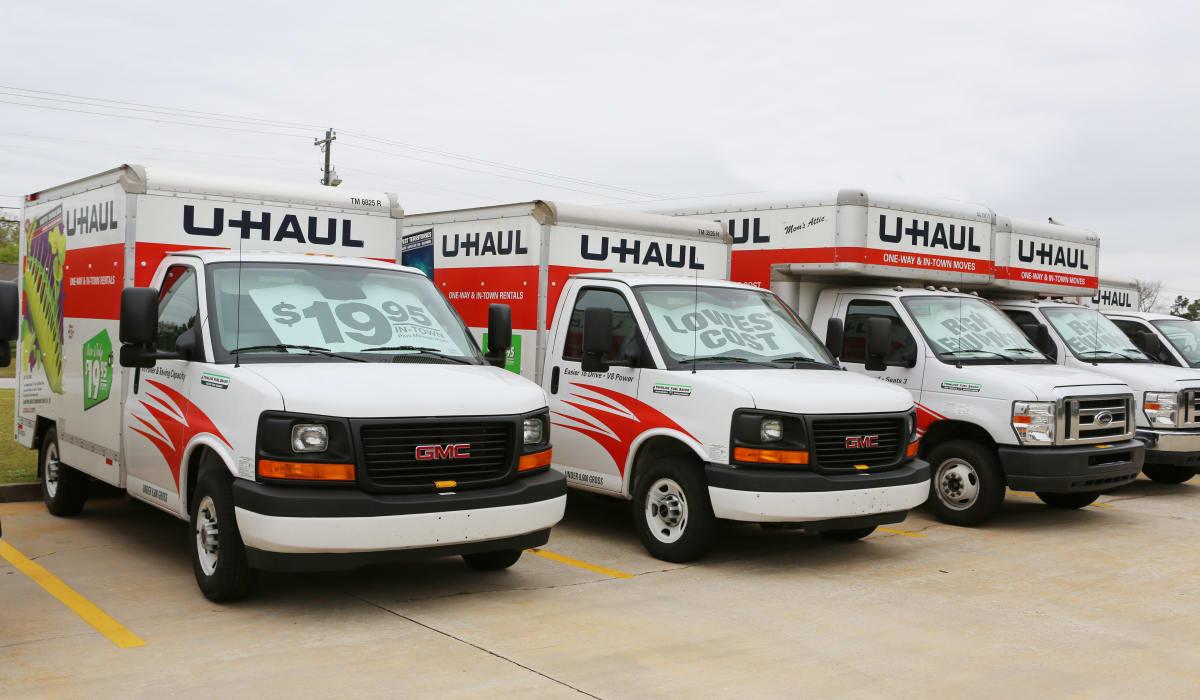 Rental trucks at StoreSmart Self-Storage in Warner Robins, Georgia