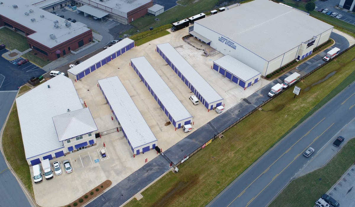 Aerial view of StoreSmart Self-Storage in Warner Robins, Georgia