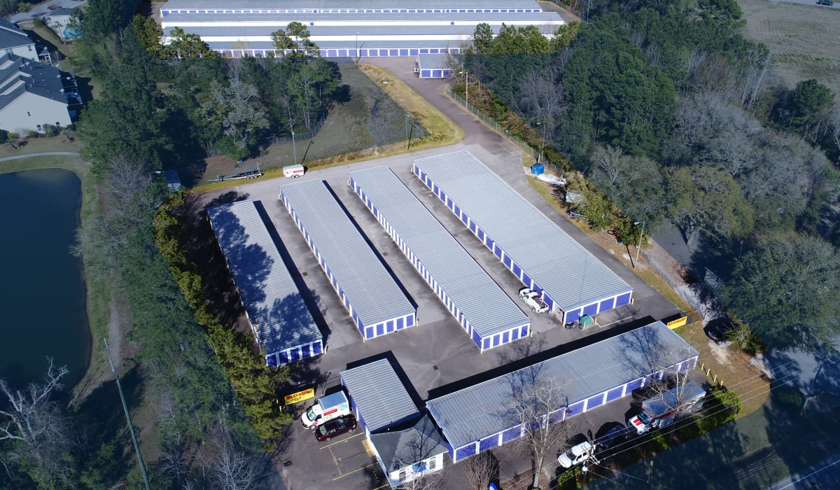 Aerial view of StoreSmart Self-Storage in Wando, South Carolina