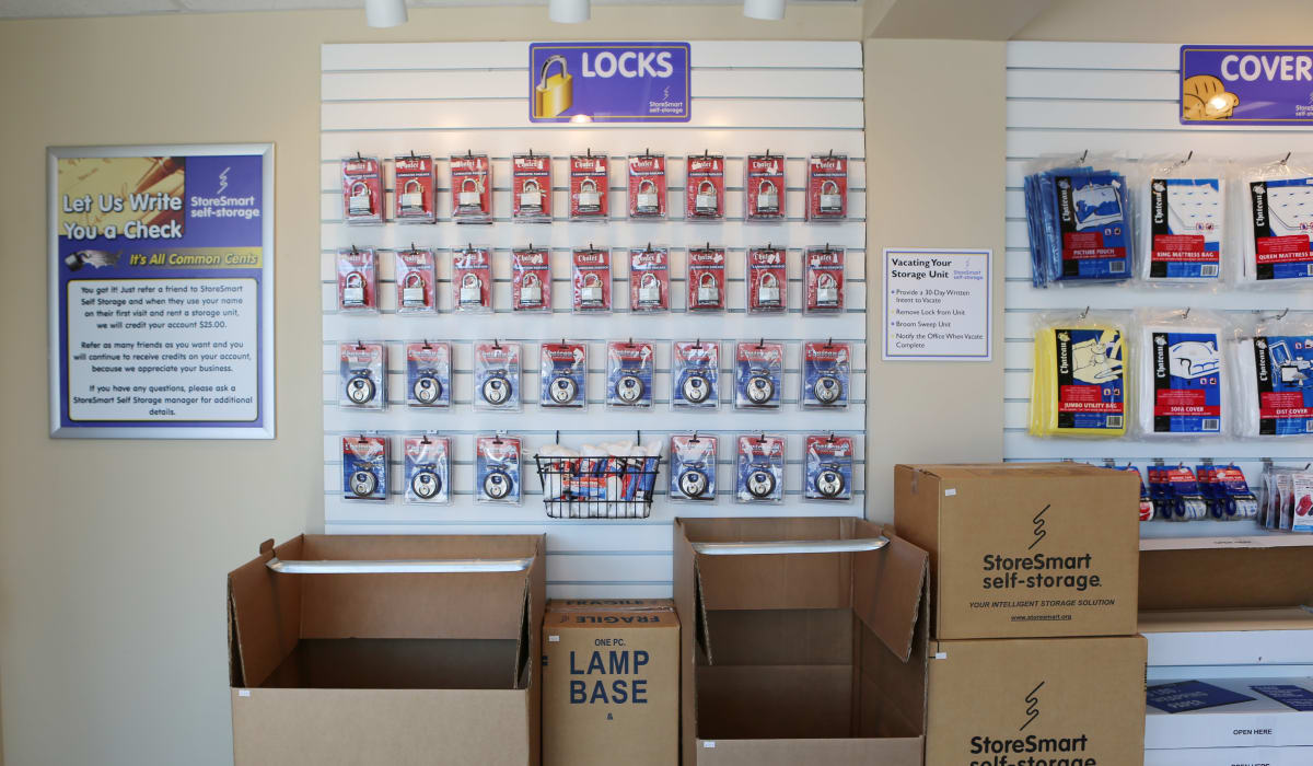 Supplies for sale at StoreSmart Self-Storage in Spring Lake, North Carolina