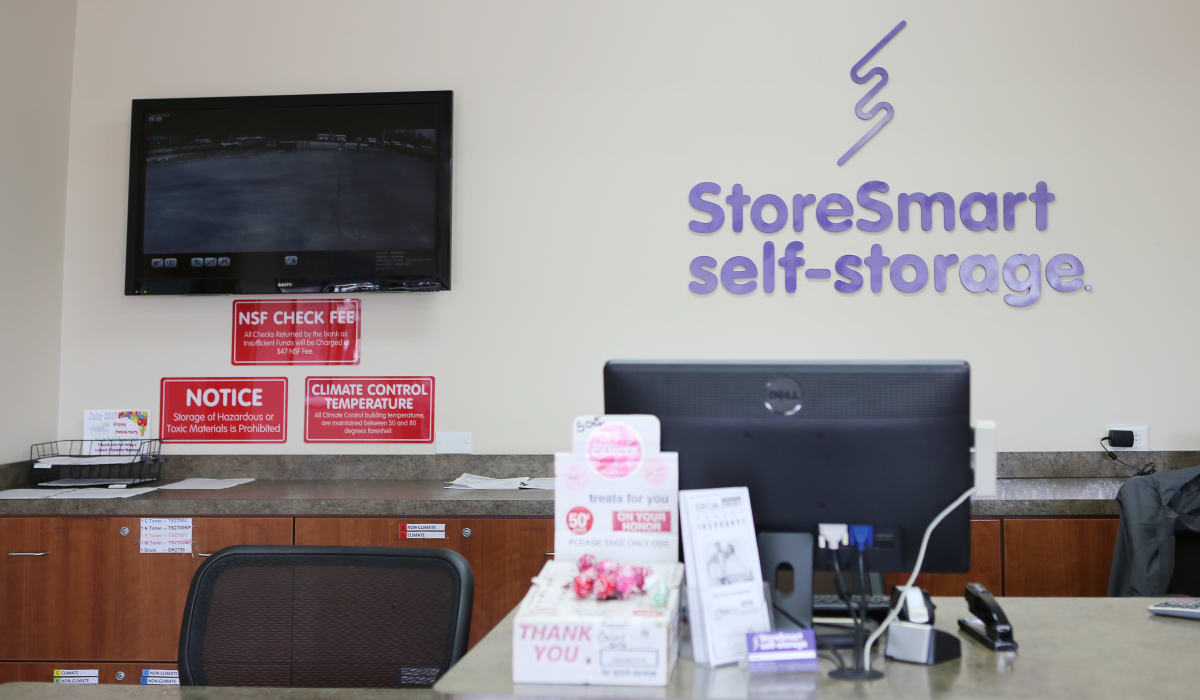 LEasing desk at StoreSmart Self-Storage in Spring Hill, Florida