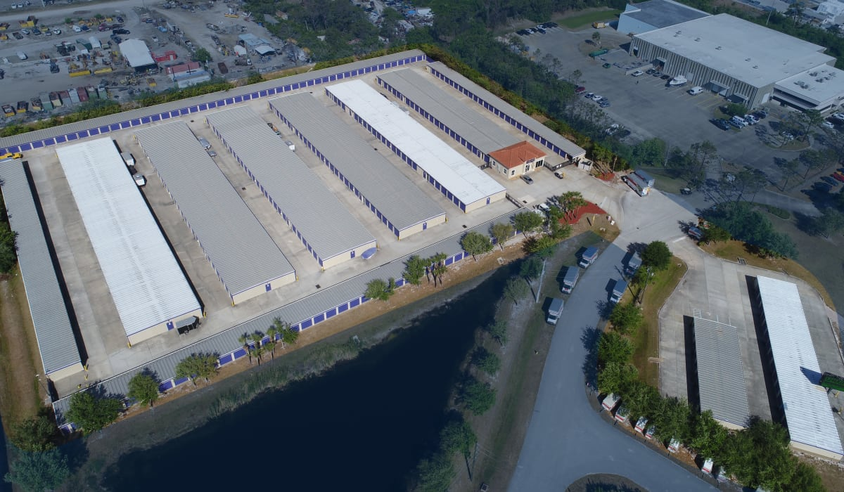 Aerial view of StoreSmart Self-Storage in Rockledge, Florida