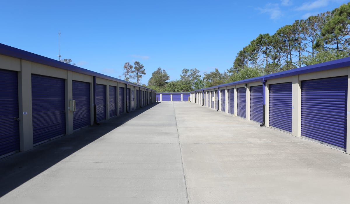 Wide aisles at StoreSmart Self-Storage in Rockledge, Florida