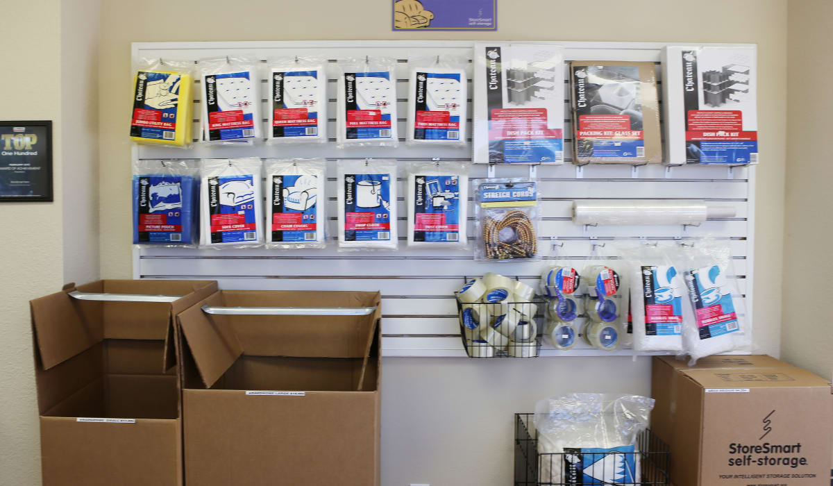 Supplies for sale at StoreSmart Self-Storage in Rockledge, Florida
