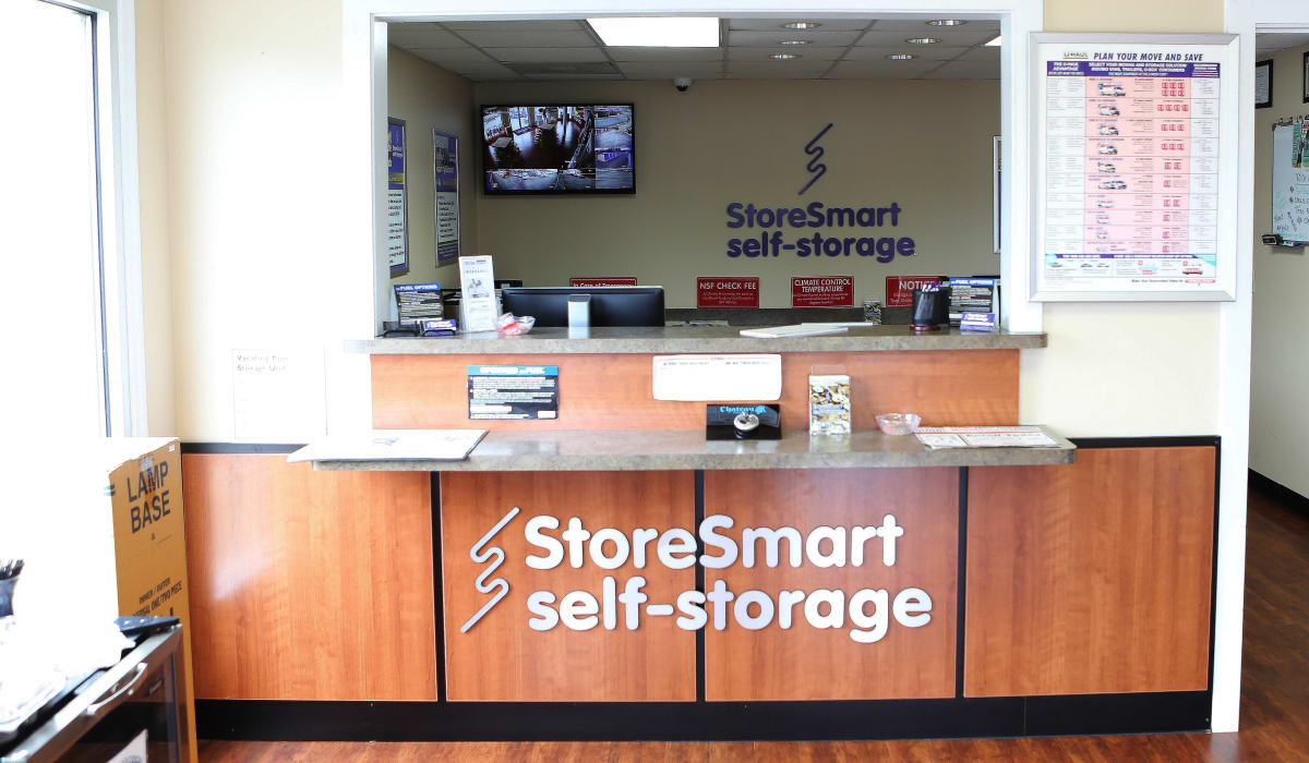 Leasing desk at StoreSmart Self-Storage in Riverdale, Georgia