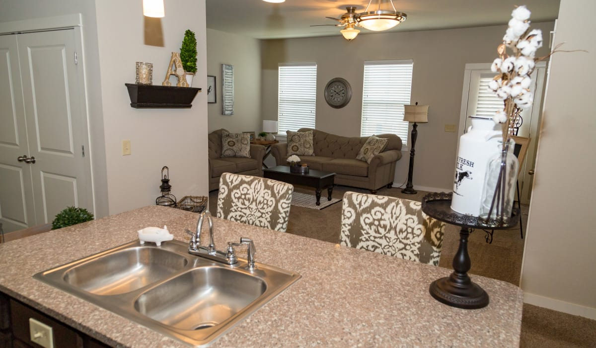 A kitchen with a stainless-steel sink at Traditions at Mid Rivers in Cottleville, Missouri