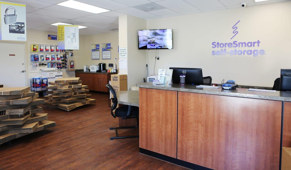 Leasing desk at StoreSmart Self-Storage in Melbourne, Florida
