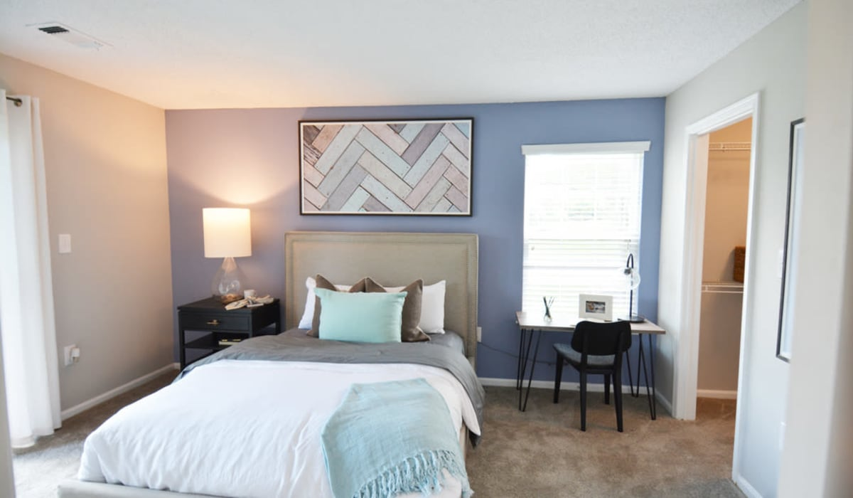 Master bedroom at Steward's Crossing Apartment Homes in Lawrenceville, New Jersey