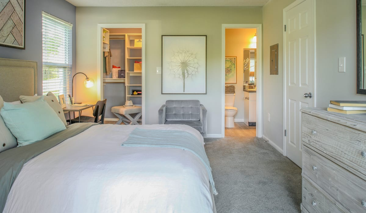 Model bedroom layout at Berkshire Stewards Crossing in Lawrenceville, New Jersey