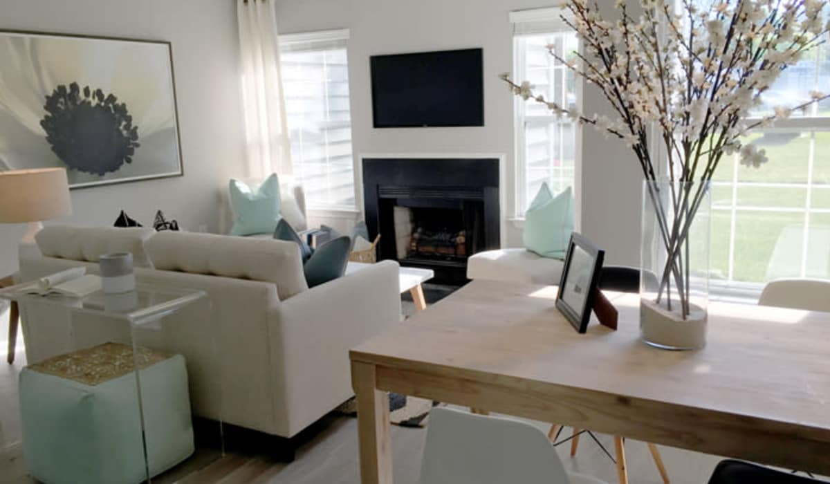 Model living room at Berkshire Stewards Crossing in Lawrenceville, New Jersey