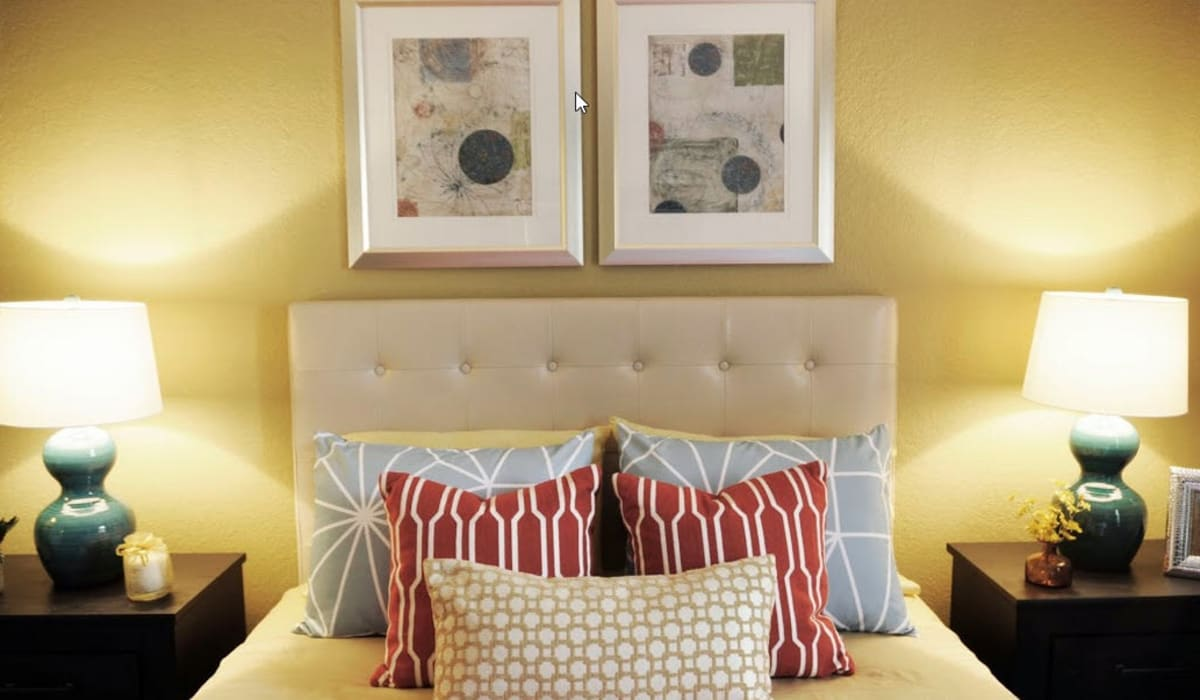 Beautiful bedroom at Goldelm at Metropolitan in Knoxville, Tennessee