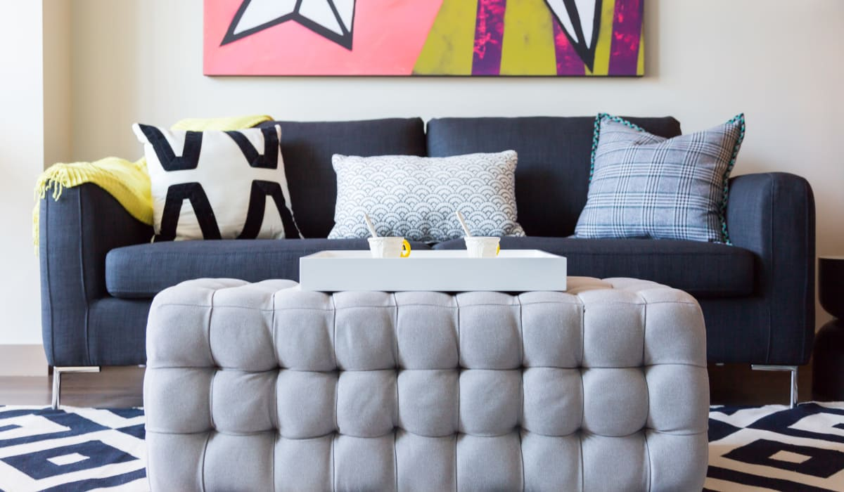 Model living room at Cielo in Seattle, Washington