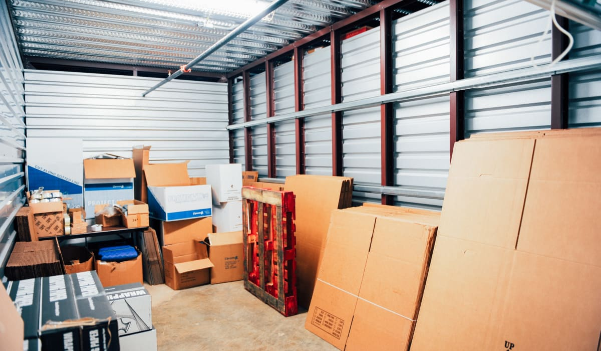 Inside storage unit at LockBox Self Storage in Winston-Salem, North Carolina