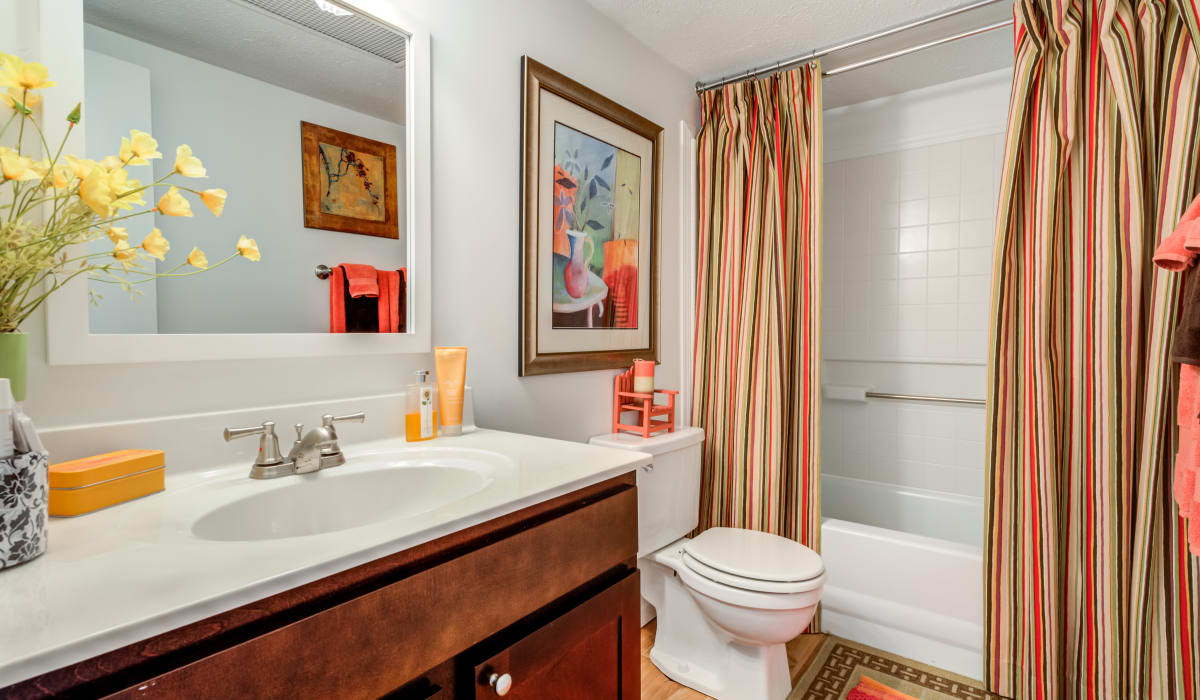 A bathroom with a large mirror and oval tub at Valle Vista in Greenwood, Indiana