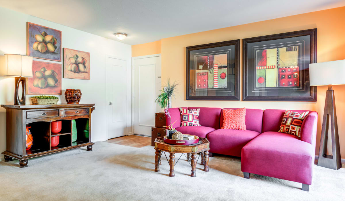 A living room with plenty of space at Valle Vista in Greenwood, Indiana