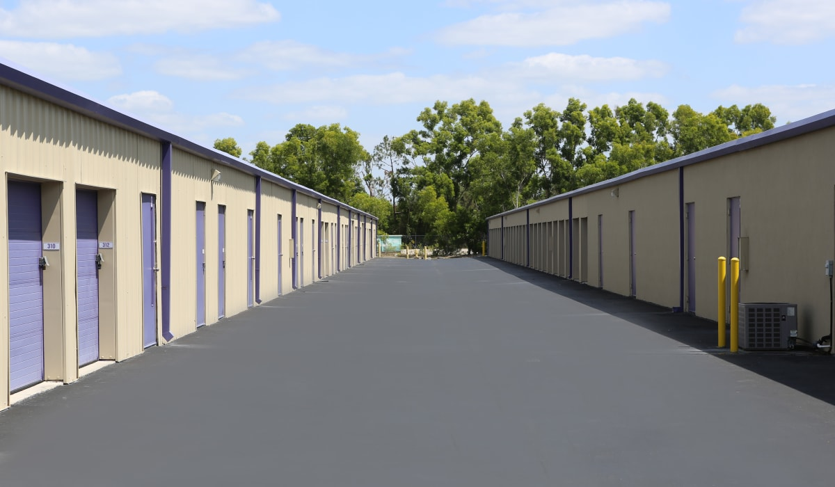 Wide driveways at Midgard Self Storage in Naples, Florida