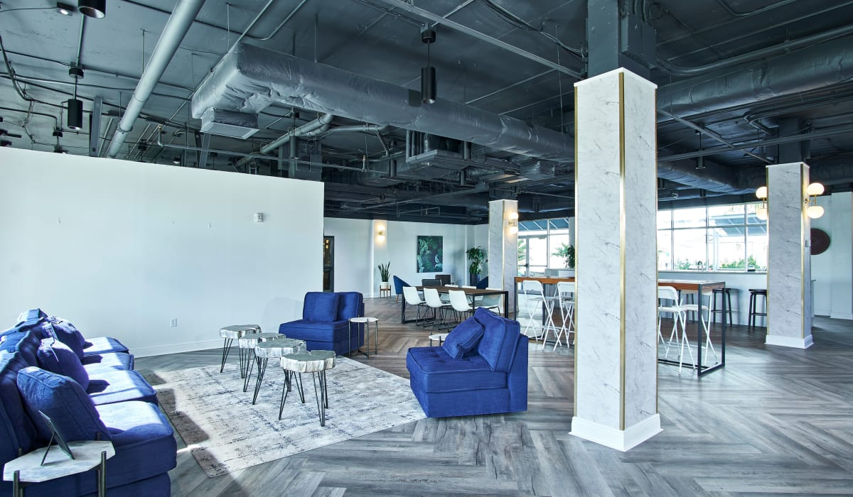Indoor community gathering space at The Wayland in St Petersburg, Florida