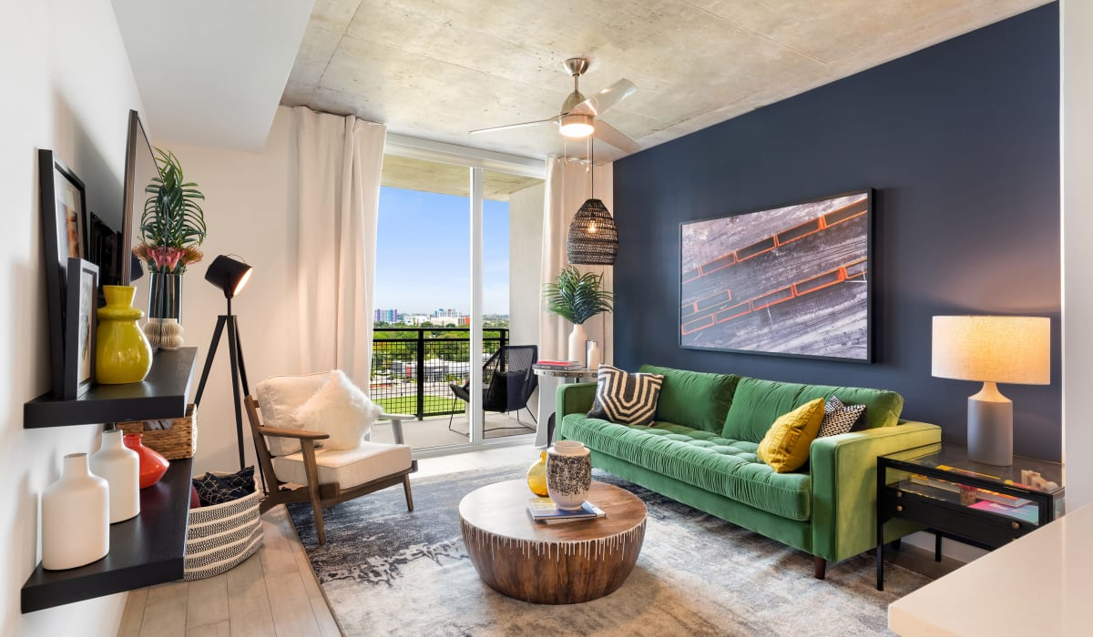 Open concept living room at Yard 8 Midtown in Midtown Miami, Florida