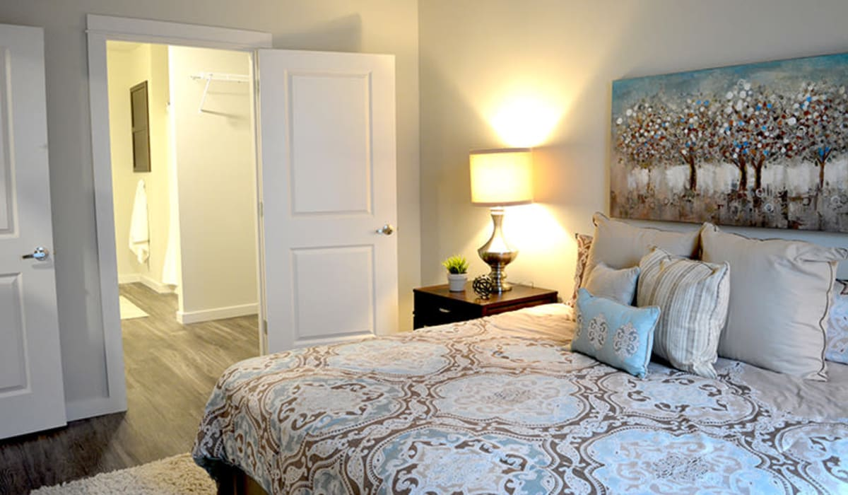 A master bedroom with plush carpeting at Pure St. Peters in Saint Peters, Missouri