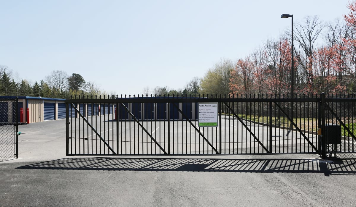 Security gate at Midgard Self Storage in Springfield, Tennessee