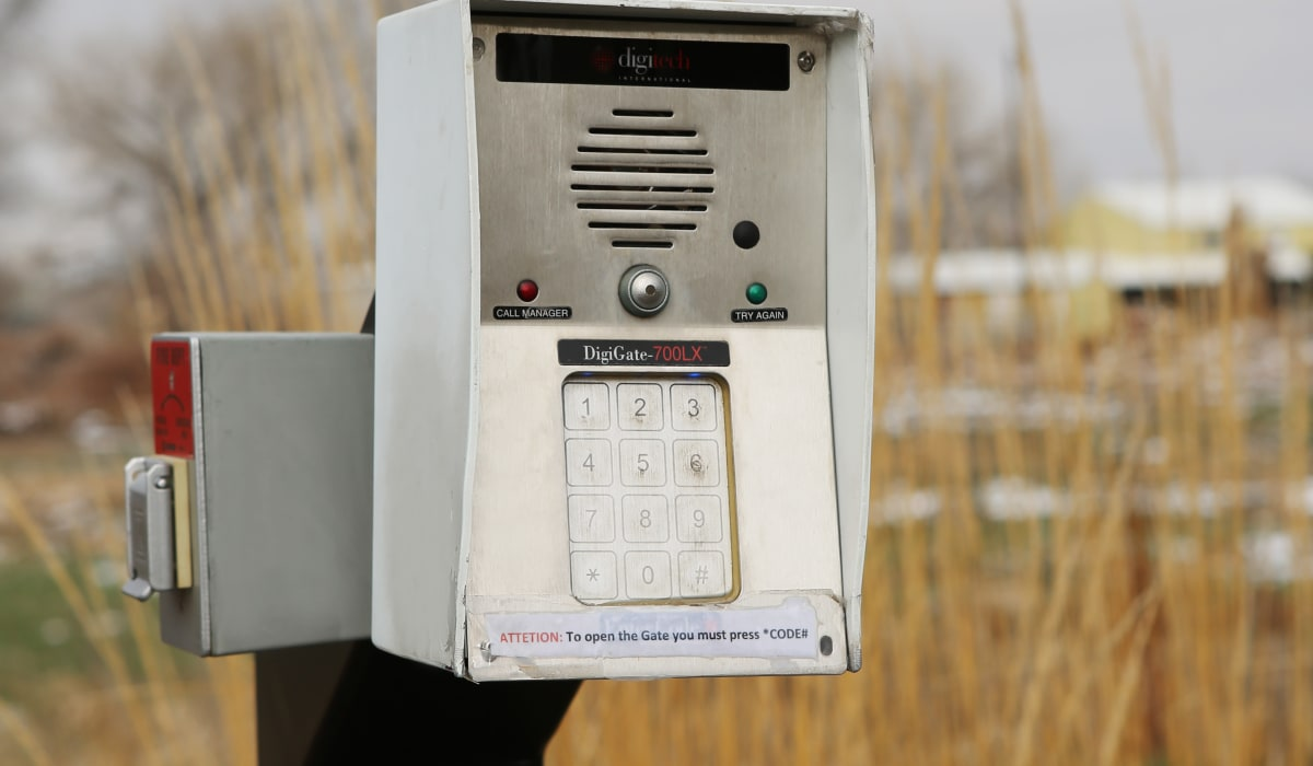 Security keypad at Clover Basin Self-Storage in Longmont, Colorado