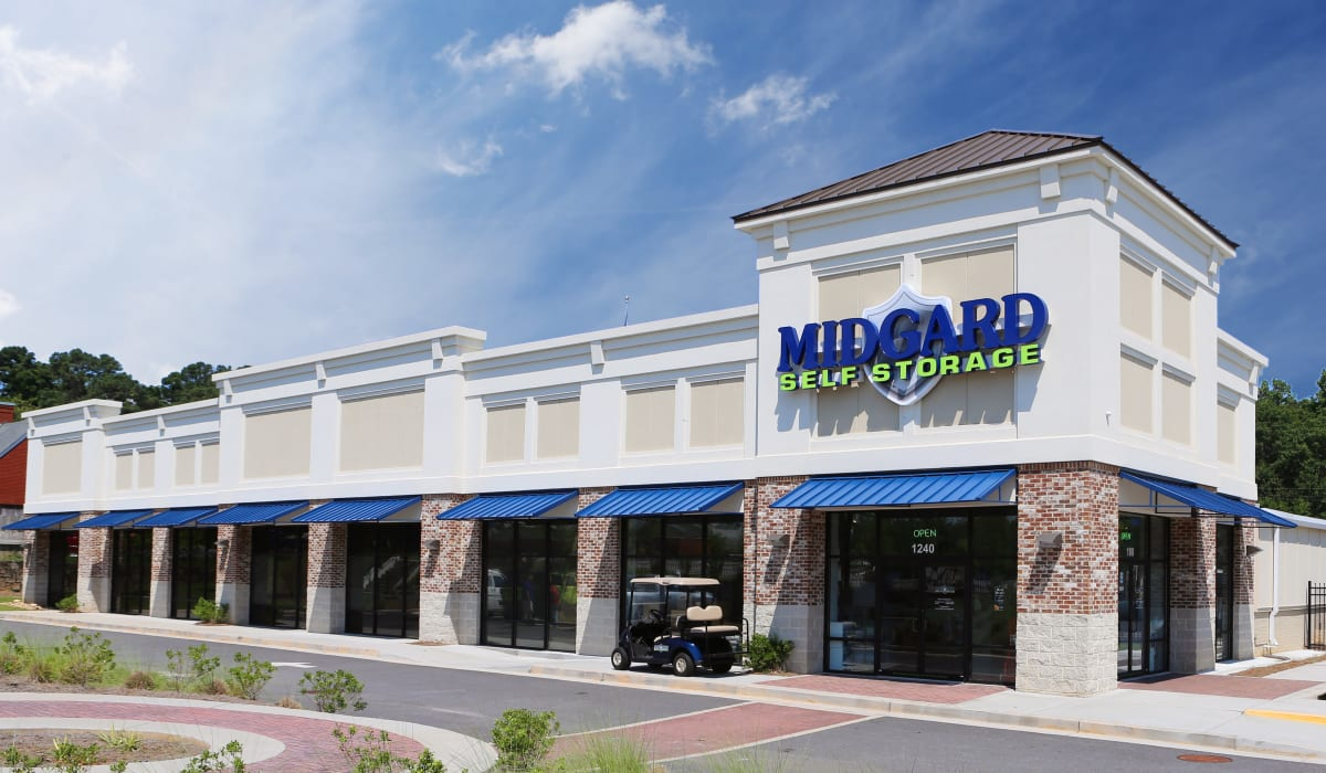 Exterior of Midgard Self Storage in Roswell, GA