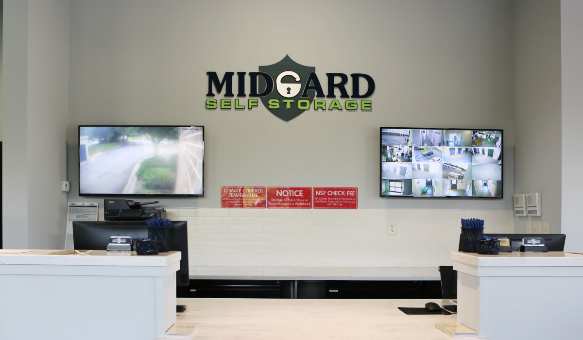 Leasing office at Midgard Self Storage in Roswell, GA