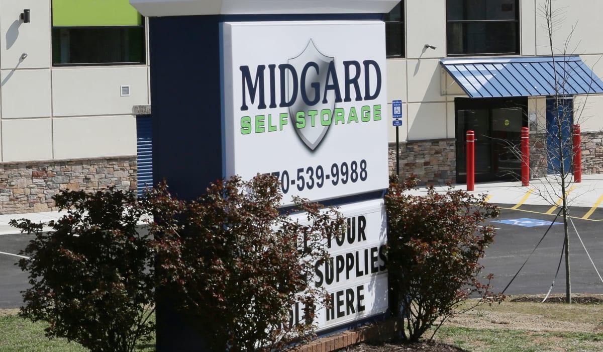 Sign at  Midgard Self Storage in Gainesville, GA