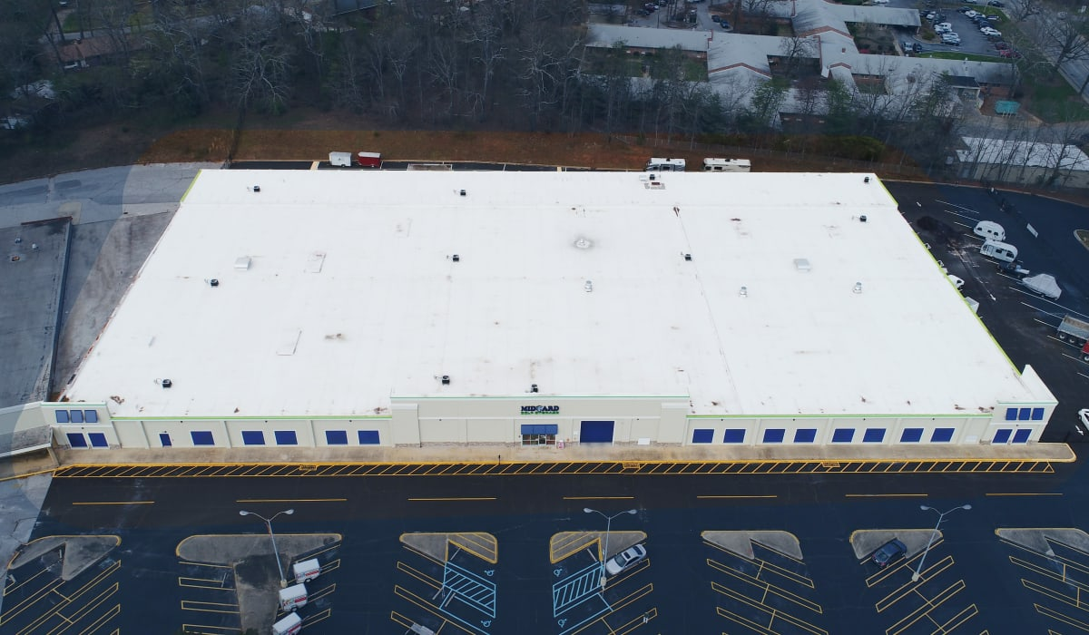 Arial view at Midgard Self Storage in Greenville, SC