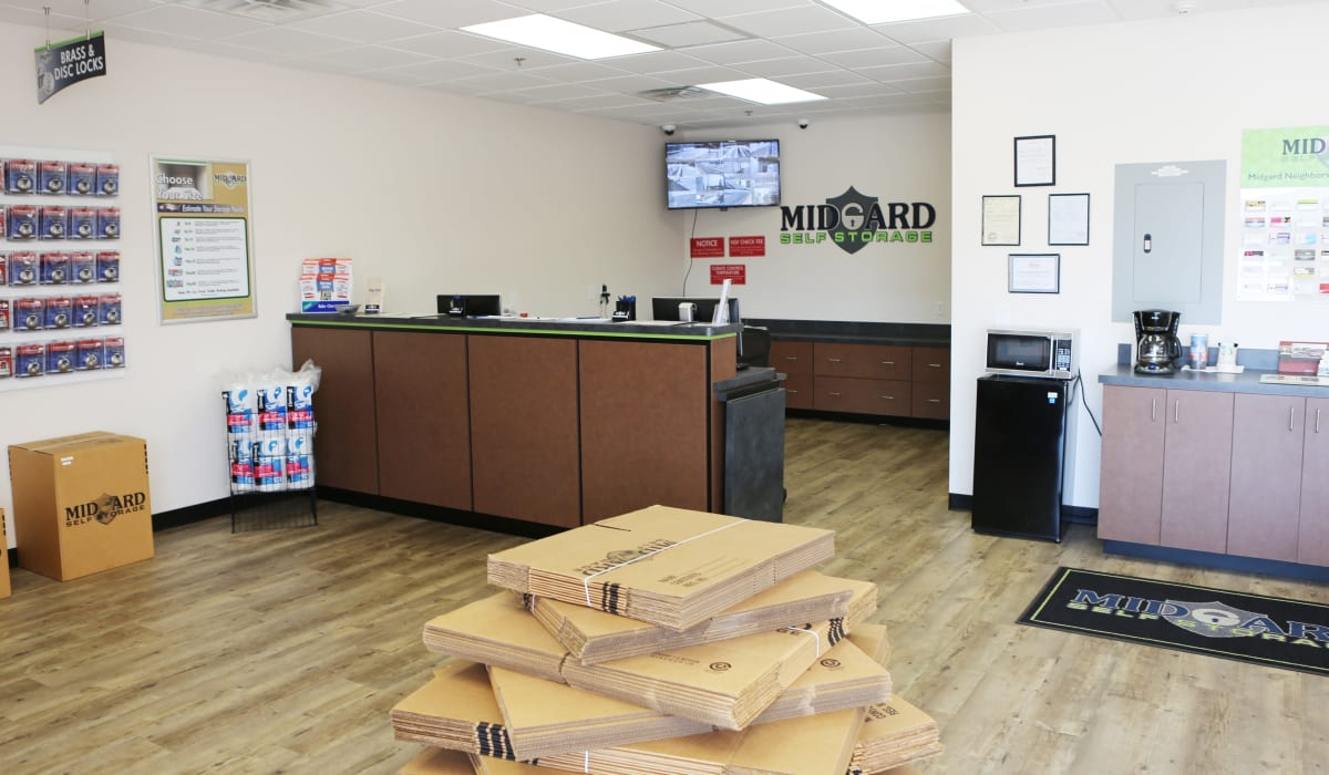 Leasing office at Midgard Self Storage in Greenville, SC