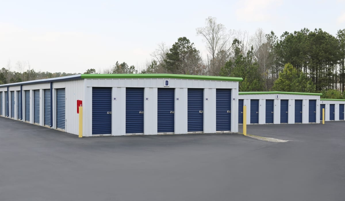 Exterior units at Midgard Self Storage in Greenwood, South Carolina