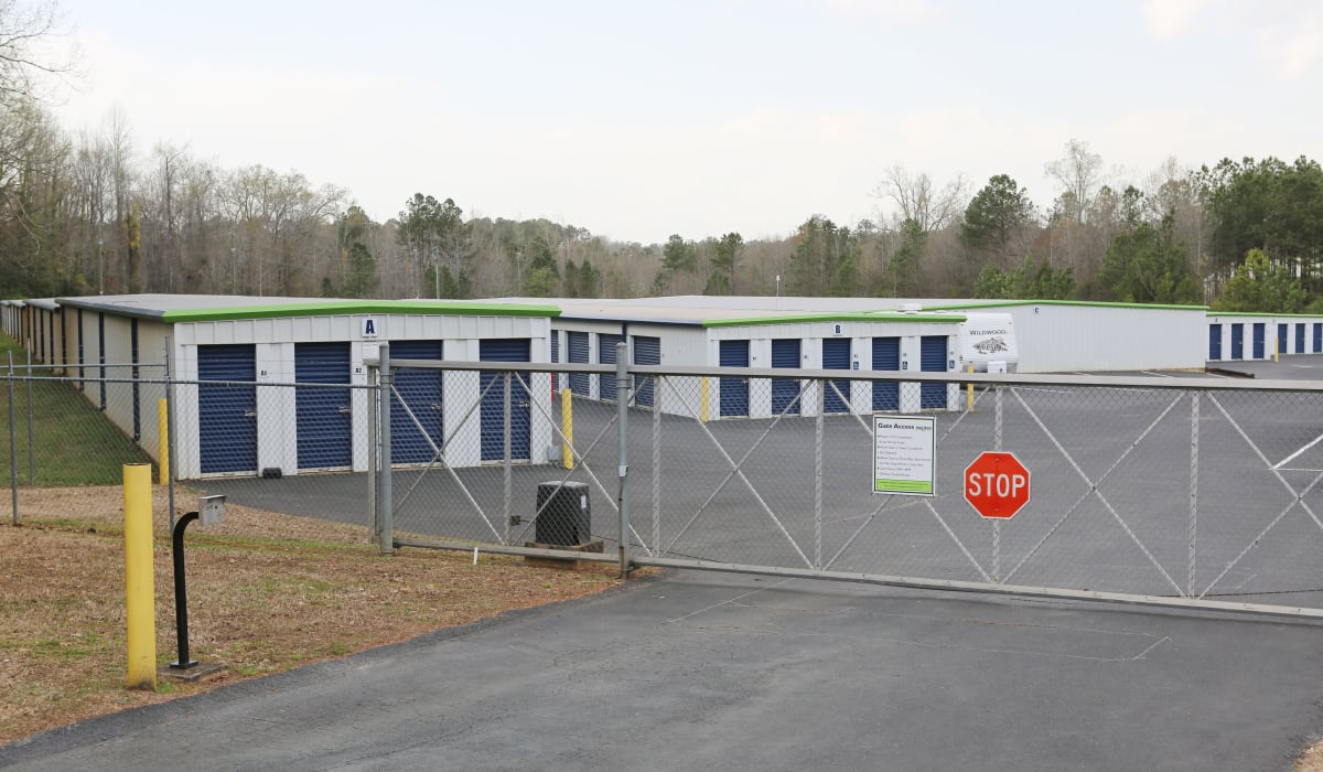 Security gate at Midgard Self Storage in Greenwood, South Carolina