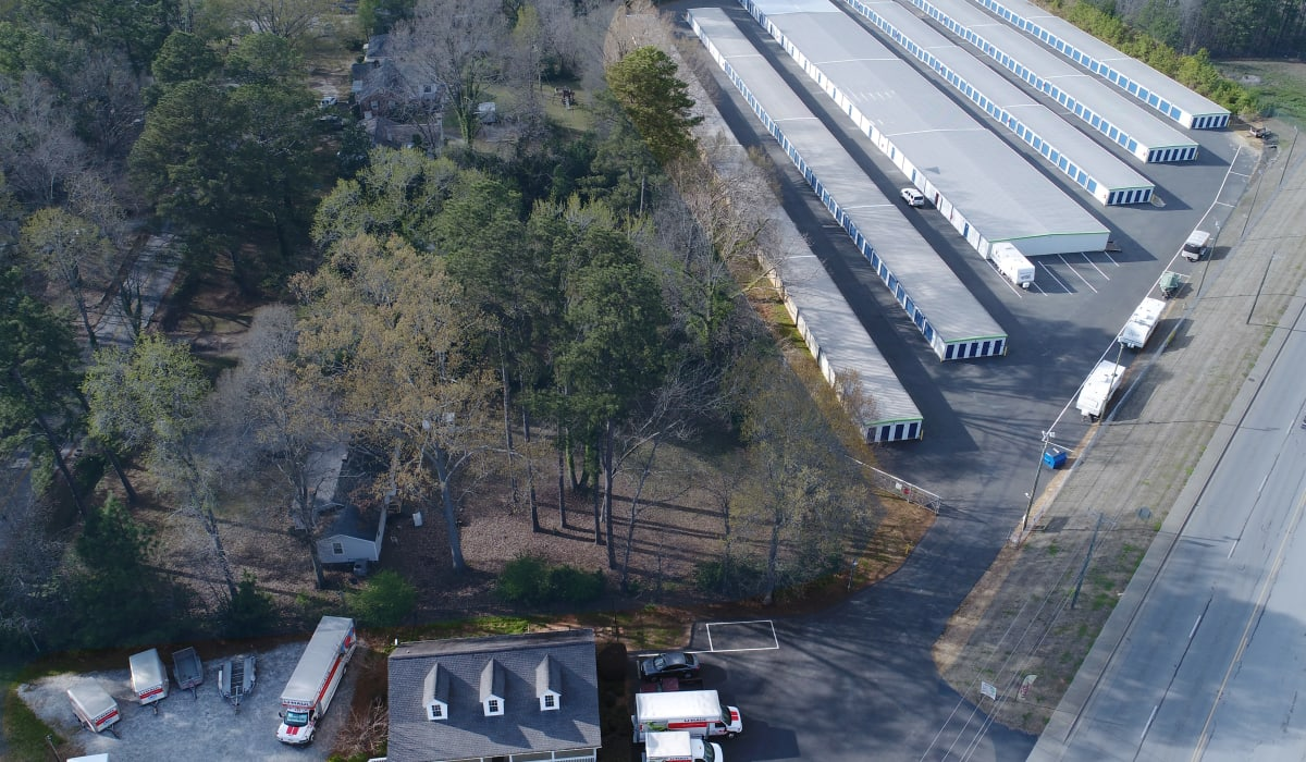 arial view of Midgard Self Storage in Greenwood, South Carolina