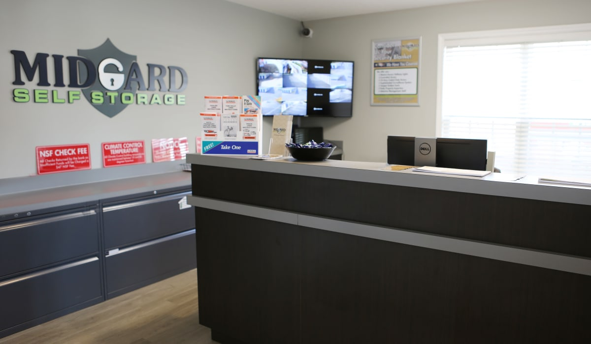 Leasing office at Midgard Self Storage in Greenwood, South Carolina